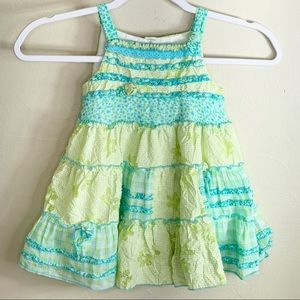 Kate Mack Green Gingham Embroidered Tiered Dress